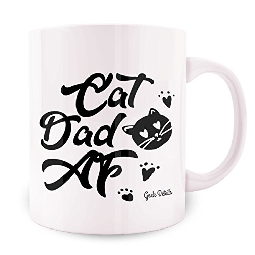 - Geek Details Cat Dad AF Coffee Mug, 11 Oz, White