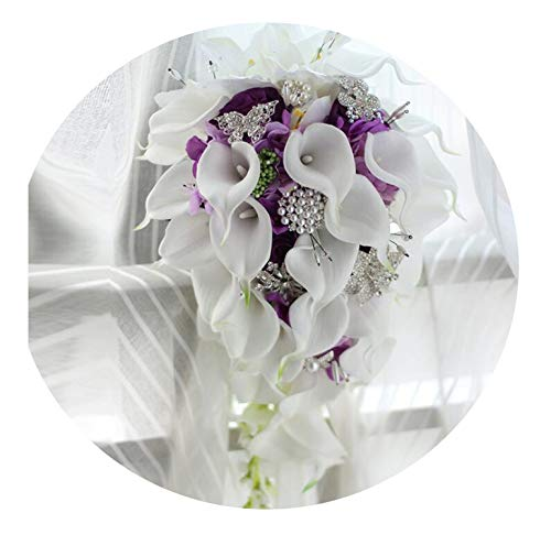 Waterfall Green White Wedding Flowers Bridal Bouquets Artificial Pearls Crystal Wedding Bouquets Bouquet De Mariage Rose,AS The Picture
