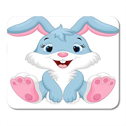 Semtomn Mouse Pad Pink Bunny Cute Rabbit Cartoon Animal Face Clipart Easter Mousepad 9.8