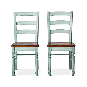 Bon Mulberry Distressed 2 Tone Dining Chair   Teal   Set Of 2