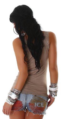 Voyells - Camiseta sin mangas para mujer, cuello en V, diseño liso Brown - lattemacchiato
