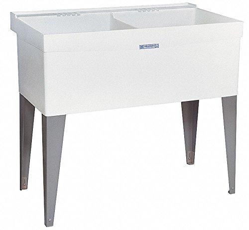 (Floor-Mount Laundry Tub, 2 Bowl, White, 24