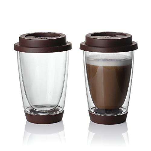 (Sweese Glass Travel Coffee Mug Set of 2 - Double Wall Thermo Insulated Borosilicate Reusable Cup with Silicone Lid and Base, Perfect for Cappuccino, Latte, Espresso,Tea, Beverages, 13.5 oz)
