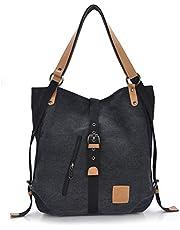 Gindoly Stilvolle Damen Canvas Handtasche Rucksack Umhängetasche 3 in 1 Große Multifunktionale Tasche für Arbeit Schule Alltag