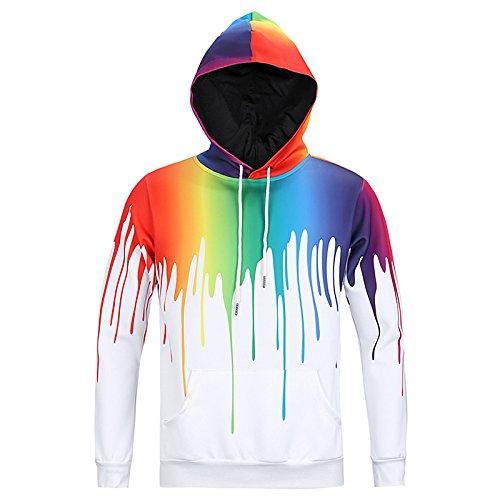 BIZHIGE WEIYIGE Sweatshirt 3D Sport Kapuzen Pullover Pullover Farbe Langärmelige Kapuzenpullover Kunst Männer und Frauen Pullover