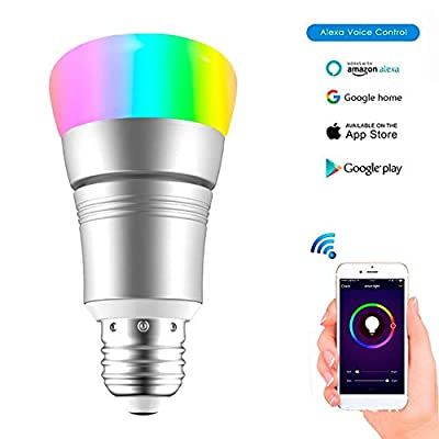 MYMGG GYN-Dm E27 B22 Smart WiFi Light Bulb, Dimmable 7W RGB Led Bulb Works with Amazon Alexa Echo Remote Control by Smartphone iOS & Android, Equivalent [Energy Class A+]
