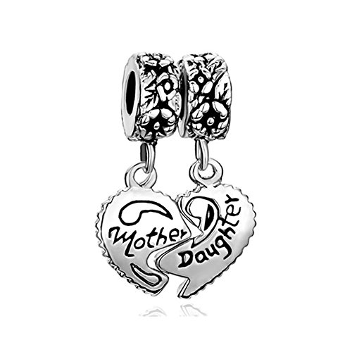 Animal Italian Charms - Q&Locket 2pcs Heart Love Mother Daughter Aunt Niece Grandma Granddaughter Sister Charm Bead Fit Bracelet (Mother Daughter Flower)