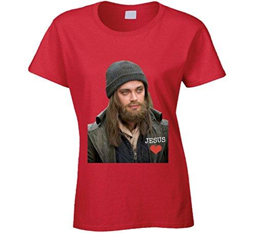 (Paul Jesus Monroe Walking Dead Ladies T-Shirt Tom Payne Love Tee Shirt New! 2XL Red)