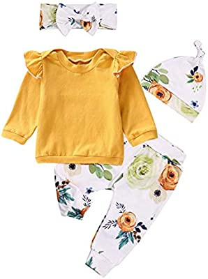 Toddler Baby Girls Clothing Outfits Long Sleeve Ruffle Shirts+Floral Pants+Headband+Hat Clothes Set 4Pcs