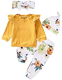 Newborn Baby Girls Clothes Long Sleeve Ruffle T-Shirt + Floral Pants + Headband + Hat 4Pcs Outfit Sets