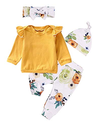 Baby Girls Clothes Long Sleeve Ruffle T-Shirt + Floral Pants + Headband + Hat 4Pcs Outfit Sets 3-6 Months