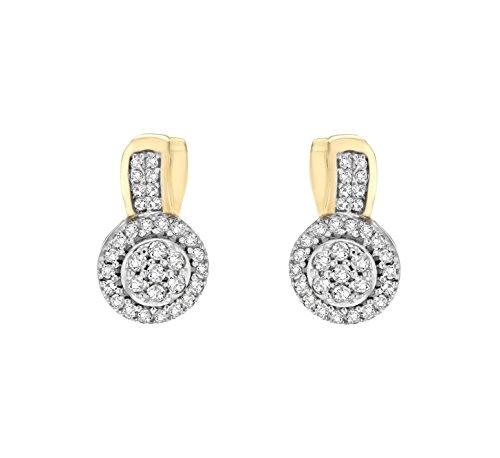 Pavé Privé Chaîne Femme Or jaune 14carats Diamant rond blanc Cercle Boucles d'oreilles clous