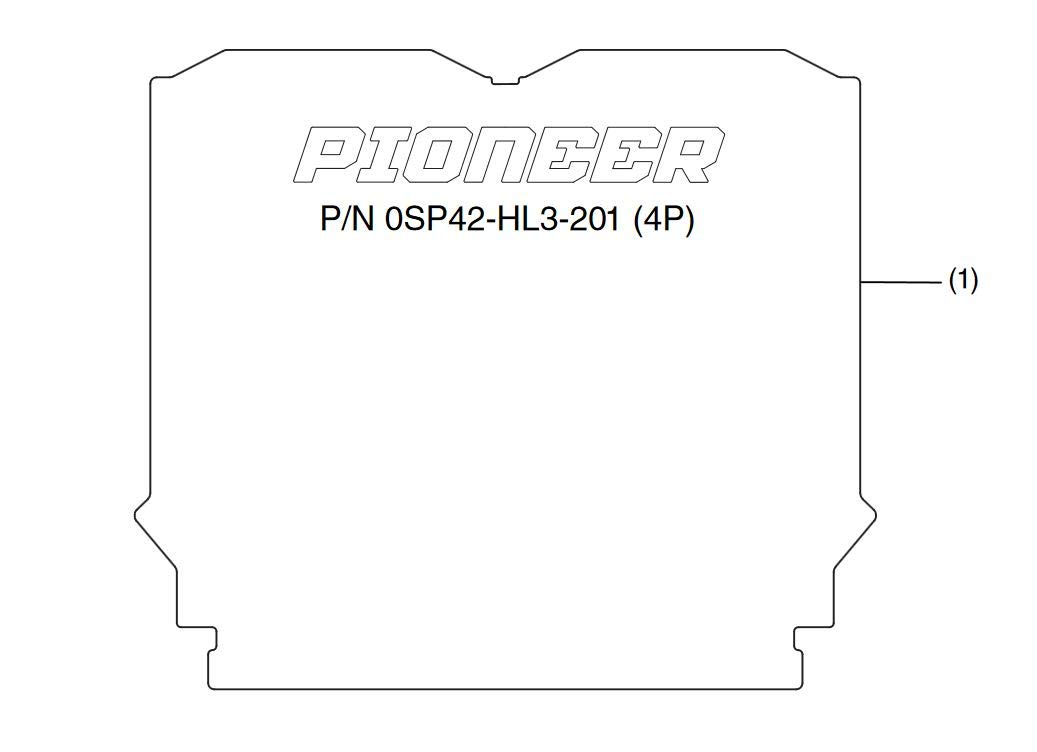 2014-2019 Genuine Honda Pioneer 700-4 4P Rear Bed Mat 0SP42-HL3-201