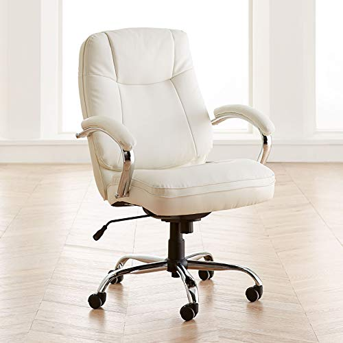 BrylaneHome Extra Wide Women's Office Chair - Ice (Best Office Chair To Sit Cross Legged)
