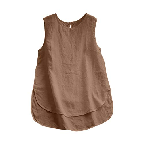 Women Vest Blouse Casual Plus Size Linen Tops Vintage Solid Sleeveless Loose Tee