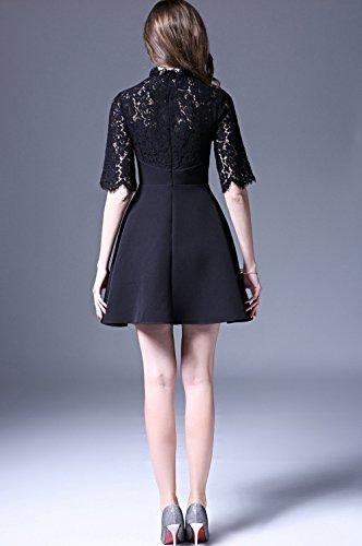 IL collare Nero vestito in Cinque Pizzo giuntura Maniche