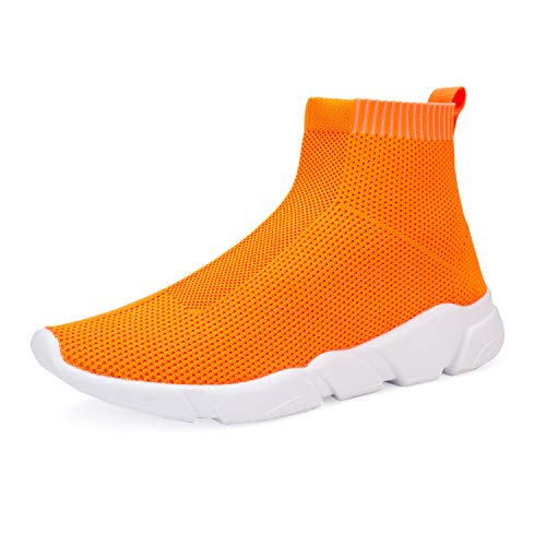 WXQ Women's Athletic Walking Shoes Lightweight Fashion Sneakers Breathable Flyknit Running Shoes Orange 35]()