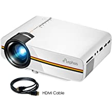 Video Projector, ELEPHAS Portable Mini Movie Projector with Advanced LCD Technology and 2000 Lux Support 1080P HDMI Video Projector Ideal for Home Theater Cinema Entertainment Games Party, White