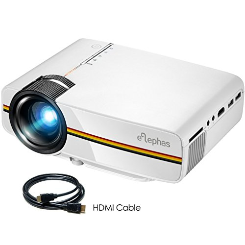 Video Projector, ELEPHAS Portable Mini Movie Projector with Advanced LCD Technology and 2000 Lux Support 1080P HDMI Video Projector Ideal for Home Theater Cinema Entertainment Games Party, White by ELEPHAS