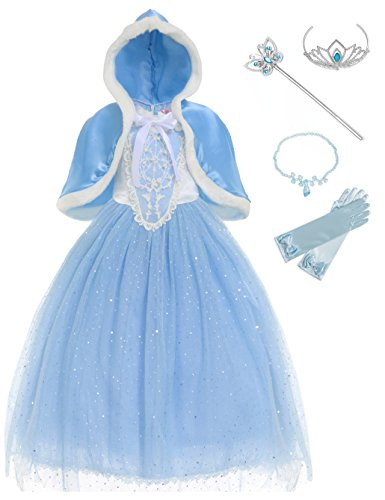 MUABABY Girls Sparkle Sequin Princess Dress Costume (8-9years, Cinderella Blue)