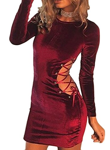 Mini Cromoncent Red Hollow Womens Lace Up Wine Solid Dresses Sexy Bodycon Out Anq8Zw8cW