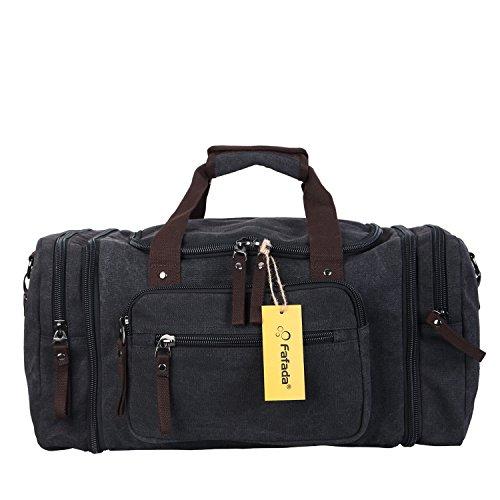 Fafada 40L Canvas Sporttasche Reisetasche Großräumige Handtasche Schultertasch Schwarz