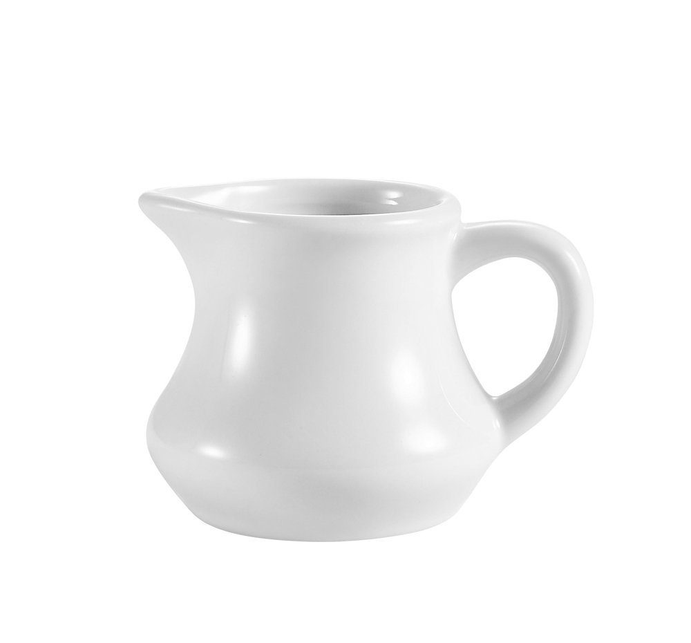 CAC China PC-6 6-Ounce Porcelain Creamer, 4-1/2 by 3-1/2 by 2-1/2-Inch, Super White, Box of 36