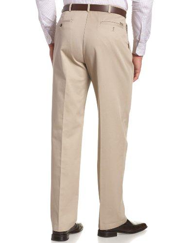 Haggar Men's Work To Weekend Khakis Hidden Expandable Waist No Iron Pleat Front Pant,Khaki,34x34