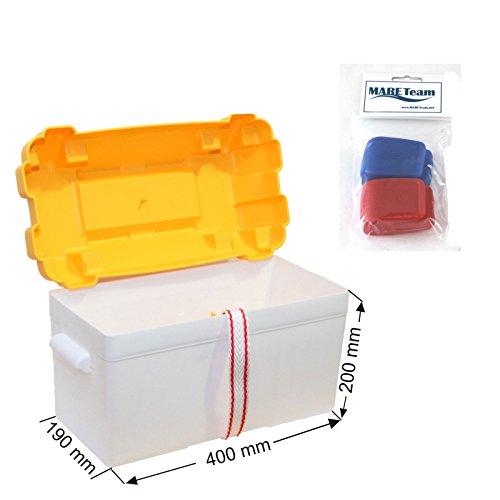 Batteriekasten mit Befestigungsgurt und zusätzlicher Trennwand 450 x 235 x 270 mm /Innenabmessung 390 x 180 x 200 mm + Batteriepolklemmen mit Schnellverschluss