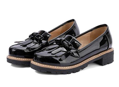 SHFANG Señora Zapatos Primavera Otoño Redonda Cabeza Fringed Nudo de la mariposa Colmillo y Universidad Viento Compras Diaria Estudiantes Chica Tres Colores 4cm Black