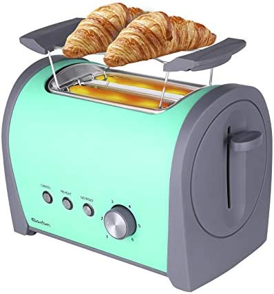 "GARDOM Toaster 2 Slice with Warming Rack, Retro Stainless Steel Toaster 1.5"" Wide Slot 6 Shade Settings with Cancel/Defrost/Reheat Function, Removable Crumb Tray Cord Wrap and High Lift Lever, 800W"