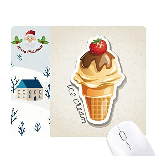 Santa Claus Cone - Strawberry Chocolate Sweet Ice Cream Cone Santa Claus House Mouse Pad Gift