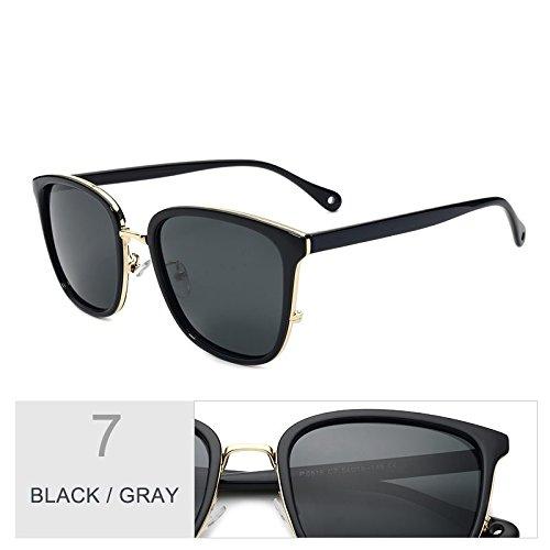 femenina estilo sol de Gray Gris de gafas Black lentes UV400 Sunglasses Gris para Gafas popular TR90 mujeres Gafas TL Piazza de sol polarizadas sol 0PTEggq