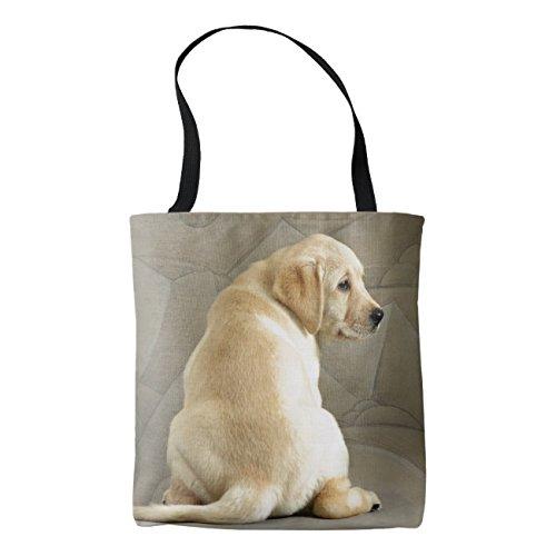 - Women's Yellow Labrador Retriever Puppy Cotton Linen Tote Bag Durable Shopping Bag