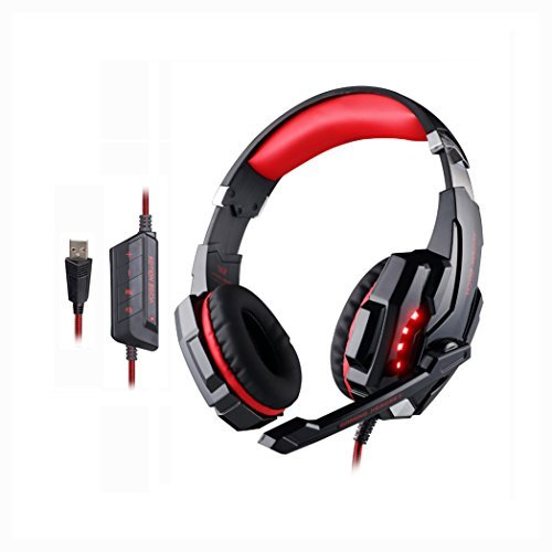 [2015 New Version] eTopxizu USB Game Gaming Headphone Headset Earphone Headband with Microphone LED Light for PC Computer Laptop All USB Port Device with Noise Cancelling & Volume Control Red