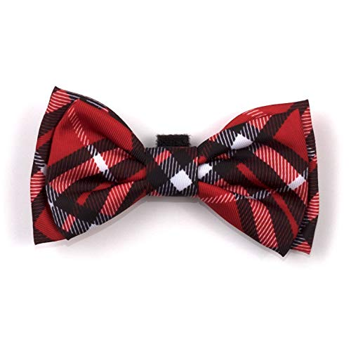 The Worthy Dog Red Bias Plaid Pattern Bow Tie for Pets Red, SM ()