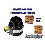 """Audiopipe ATQ-1550 1 Pair Black 1"""" 500W 4 Ohm Titanium Car Audio Bullet Bike Glide Super Tweeter"""