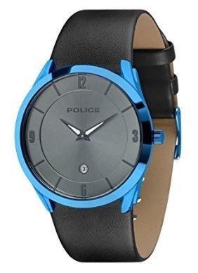 Police Target II Men's Gents Quartz Watch with Date Blue Case Grey Dial - PL 14217JSBL-61