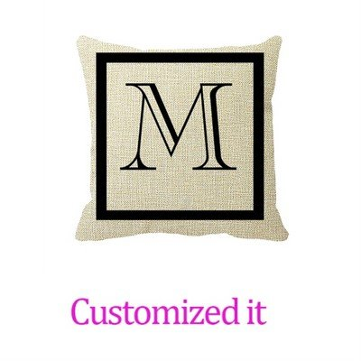 Black and White Positive Negative Monogrammed Pillow Cover Linen Burlap Throw Pillow Sham Cushion Cover 16 x 16