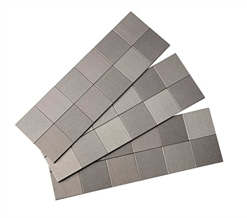 Aspect Peel and Stick Backsplash 12in x 4in Square Stainless Matted Metal Tile for Kitchen and Bathrooms - Backsplashes Metal Tile
