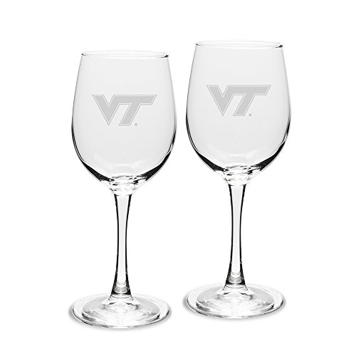NCAA Virginia Tech Hokies Adult Set of 2 - 12 oz White Wine Glasses Deep Etch Engraved, One Size, Clear ()