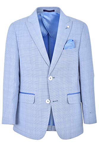 (JAMES MORGAN Boys Royal Blue Plaid Blazer with Polka Dot Patch Formal Suit Jacket, Baby Blue,)
