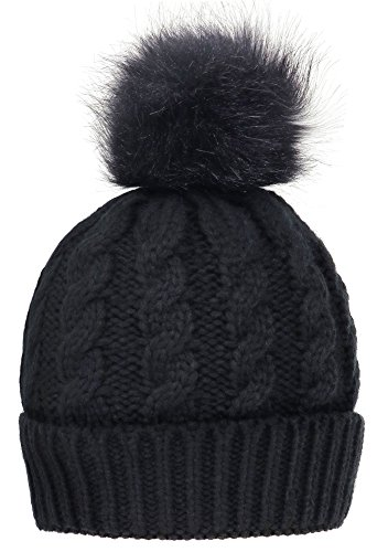 Simplicity Men / Women's Winter Hand Knit Faux Fur Black Pompoms Beanie Hat, Single-Black Pom ()