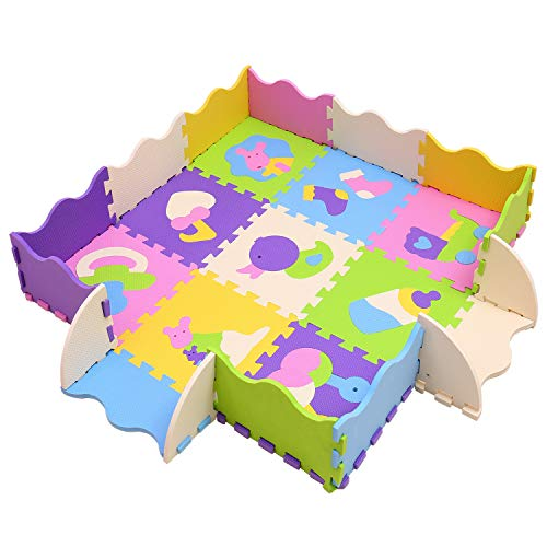 MQIAOHAM Foam Play Mat for Babies and Children EVA Foam Floor Tiles Thicker and Softer Puzzle Mat for Crawling and Learning 100% Safe, Non-Toxic, Odorless P013B3010 (Mat Puzzle Princess Floor)