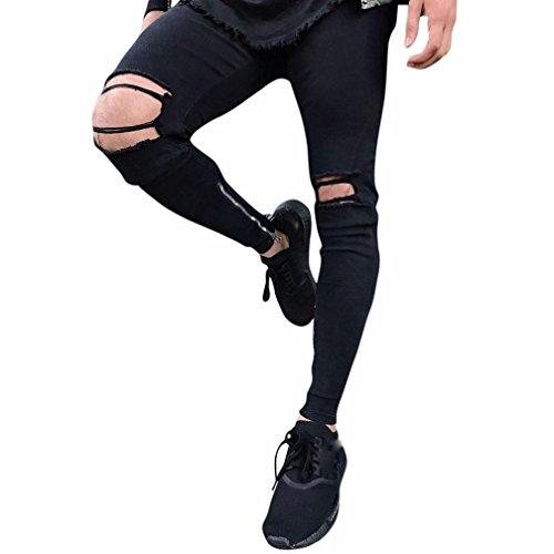 Jeans Pour Déchiré Pantalons Coloré Slim Extensible Homme Noir Hommes tm Déchirés Sport Fit Denim Pantalon De Skinny xHnrPqHwEB