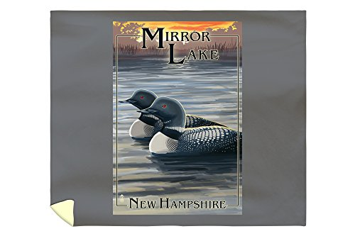 Mirror Lake, New Hampshire - Loon Family (88x104 King Microfiber Duvet Cover) by Lantern Press