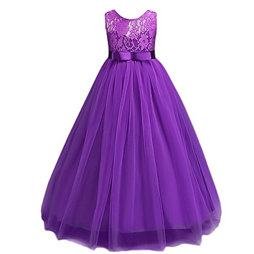 Big Girls Vintage Lace Bridesmaid Dress Dance Ball Party Maxi Gown Purple 9-10T