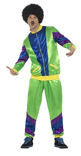 Smiffy's Men's 80s Height of Fashion Shell Suit Costume, Male, Green, (Green Man Costume Uk)