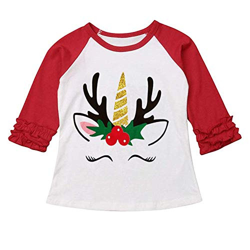 Halloween Toddler Kids Baby Girls Unicorn Pumpkin T-Shirt Long Sleeve Top Lace Sleeve Clothes Set (Red, 6-12 Months) ()