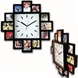 Design Wallclock Photo Family Time Frame Clock Black With 12 Pictures Photos by ALSS